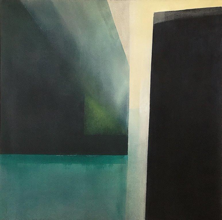 "Ingrid Ousland - ""Gjennom"", kull/akryl, 100x100, 2019"